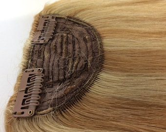 Clip in human hair clip in fringe extension mixed blonde 27/613