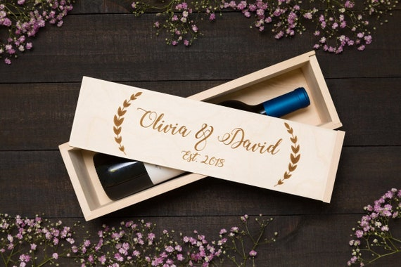 Olive Wreath Wine Box Custom Wine Box Wedding Time Capsule Etsy