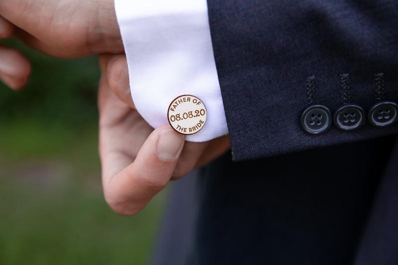 Custom Wedding Cufflinks Unique Wooden Cufflinks Personalized Cuff Links Father of the Bride Wedding Gift Father of the Bride Cufflinks