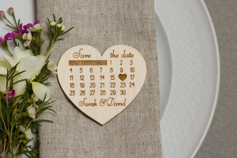 Heart Calendar Wood Magnets Calendar Save the Date Magnets Wooden Save the dates Heart Save the Date Magnets Laser engraved