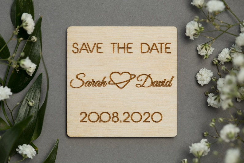 Romantic Save the Date Cute Save the Dates Save the Date Magnet Heart Save the Date Wooden Magnet Wedding Favor Wedding Invitation