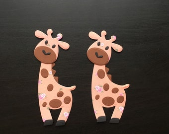 Two Paper Giraffes Die Cuts