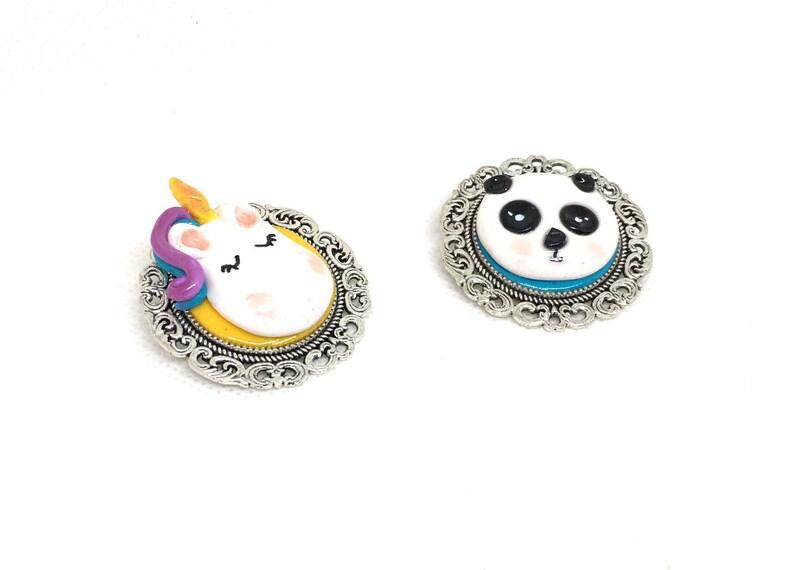 Unicorn or panda brooch