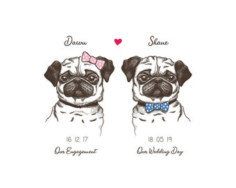 Engagement/Wedding Gift for Pug Lovers