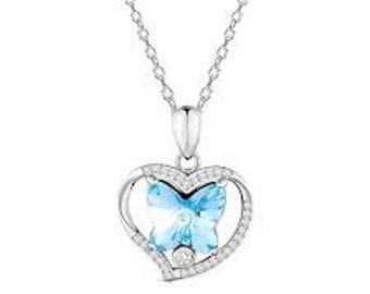 "925 Sterling Silver Pendant Necklace, Austrian Crystal, Butterfly in Heart, DeepSkyBlue, 17.71"""