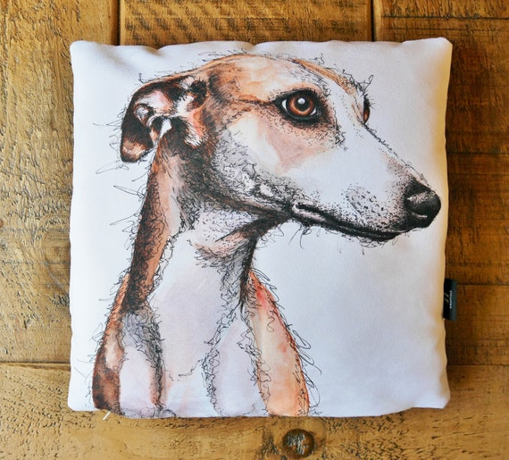 Whippet greyhound dog LOVE  Watercolour and ink painting