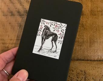 Greyhound notebook, greyhound journal, pocket notebook, greyhound gifts, lurcher notebook, lino print greyhound notebook, lurcher gifts