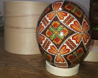 Ostrich egg Pysanka traditional Ukrainian pattern Easter
