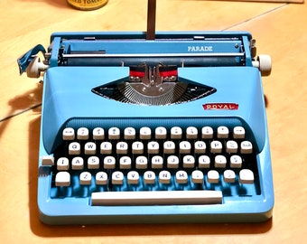 1964 Royal PARADE, Portable, Working Manual Typewriter in SKY BLUE