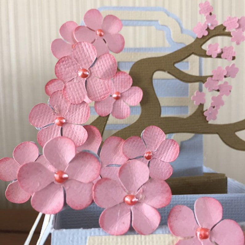 Asian Inspired Cherry Blossoms Spring Box Card