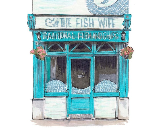 "The Fish Wife, MacCurtain Street, Cork. 5""x7"""