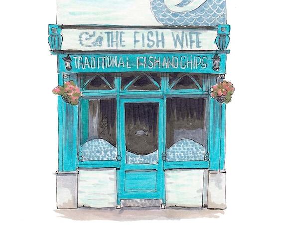 """The Fish Wife, MacCurtain Street, Cork. 5""""x7"""""""