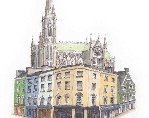 "Cobh Cathedral and Casement Square. 12""x10"""