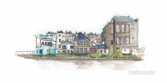 "View from Sullivan's Quay, Cork City, Cork. 12""x8"""