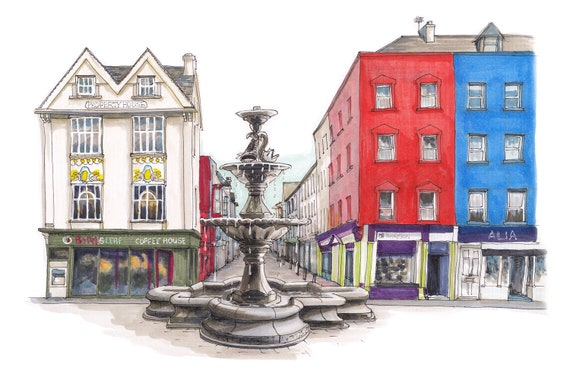 "Berwick fountain, Grand Parade, Cork city, Cork. 10""x12"""