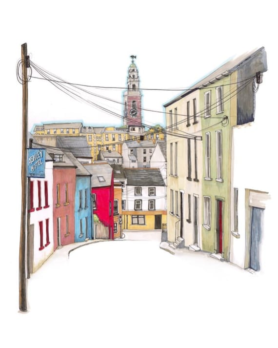 "View of Shandon from Hardwick Street, Cork city, Cork, 10""x12"""