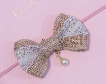Burlap and Lace Bow Charm