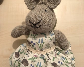 Delightful Boo Boo bunny - knitted bunny in a pretty cotton dress - waiting to be loved in her forever home. Made with love