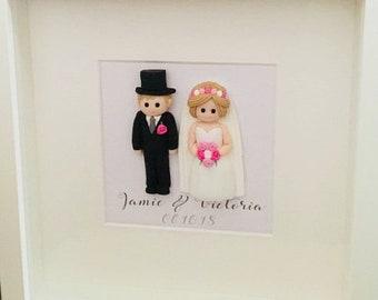 Framed Wedding Figures, personalised bride and groom