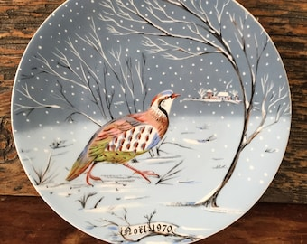 Vintage Haviland Limoges A Partridge in a Pear Tree collector plate