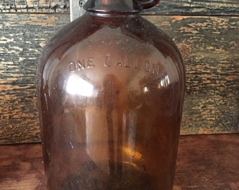 Vintage amber glass gallon jug farmhouse decor