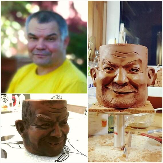 Portrait personnalisé Sculpture Mug, visage navire Art coupe