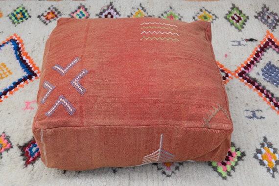 Moroccan cactus silk poufDecorative pouf Home decor Morocco pouf Sabra pouf Handmade Floor Cushion pouf  Embroidered pouf Moroccan poufs