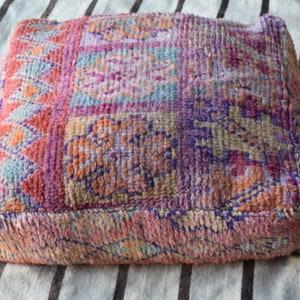 Vintage kilim Floor cushion Moroccan handmade floor cushion Home decor poufs Square design Pouf Berber Handmade Embroidered poufs