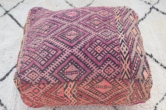 Furniture moroccan pouf Vintage kilim poufs Embroidered Square design Moroccan pouf Berber pouf Home decor Home chair kilim pouf