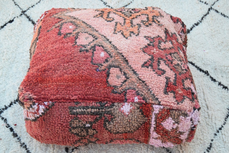 Gift Berber design Floor Handmade pouf Home decor Kilim pouf Square furniture Vintage Home chair Moroccan pouf Embroidered