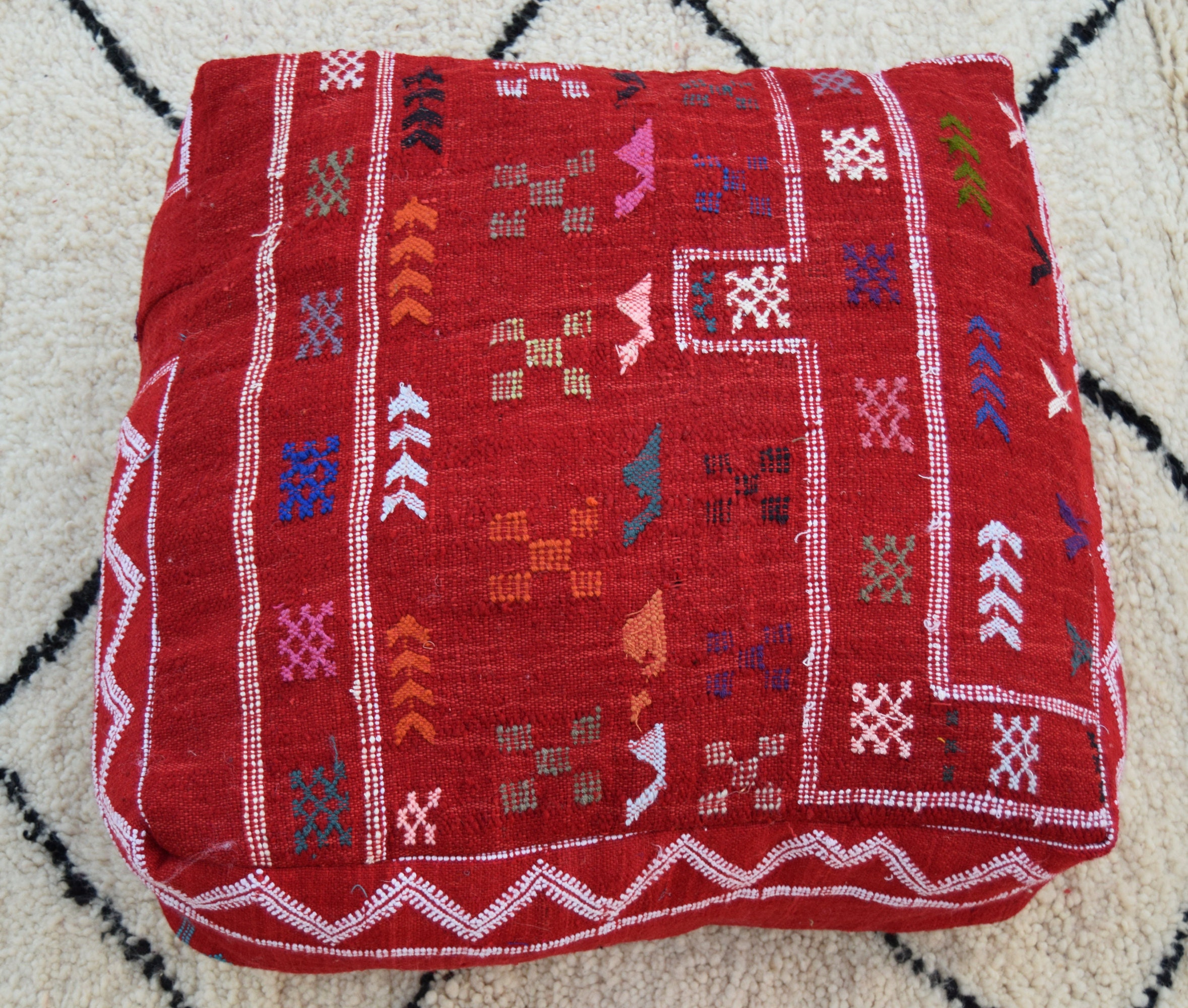 Sabra puf vintage Home silla Multicolor marroquí puf bordado