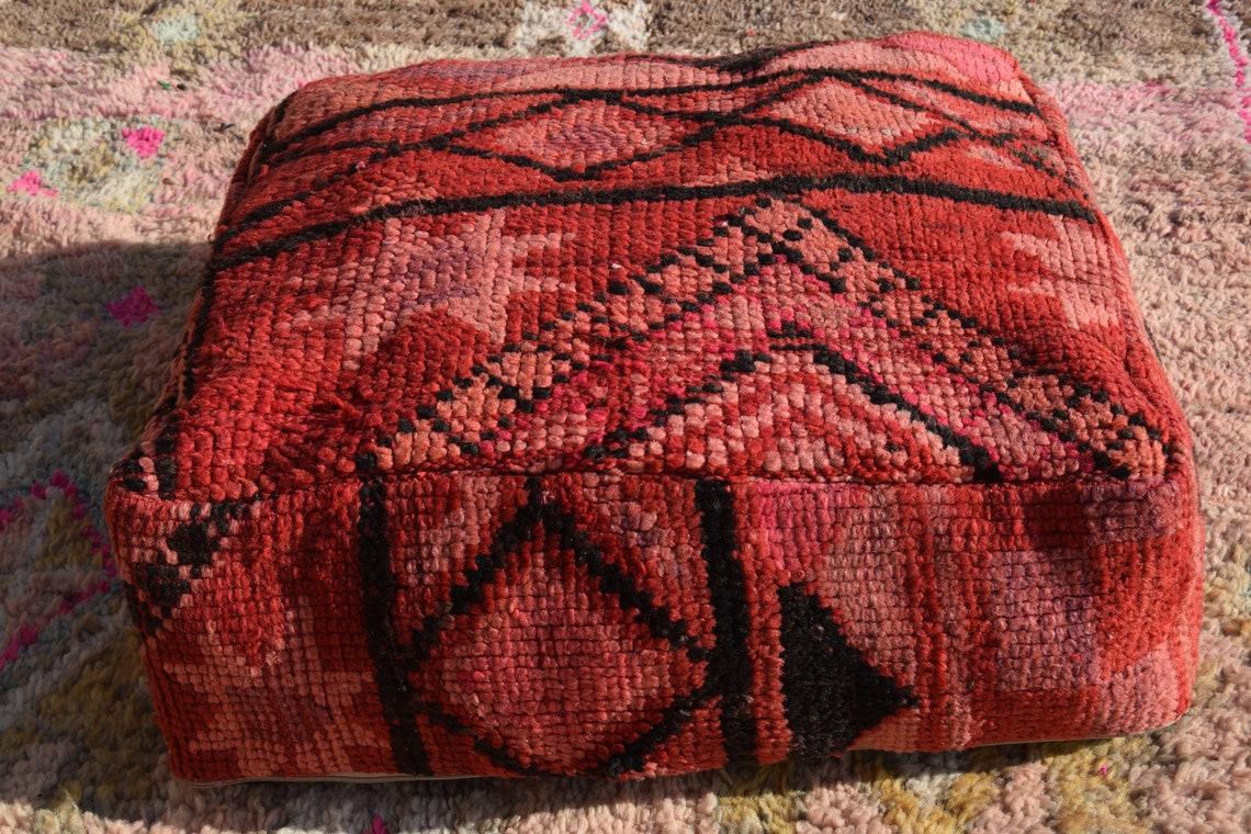 Vintage Home decor Handmade poufs Embroidered pouf Moroccan pouf Decorative pouf Floor Pouffe Kilim pouf Berber poufs Sabra