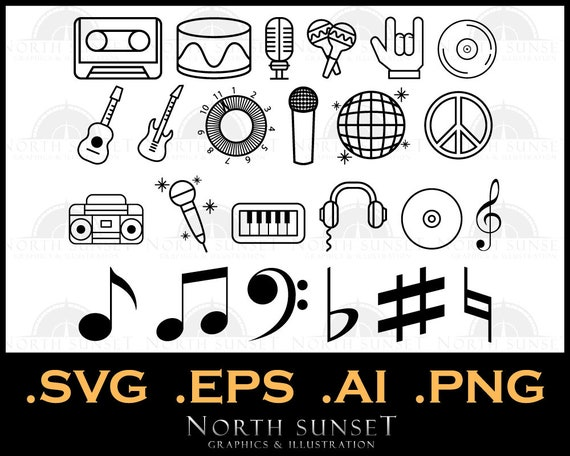 24 Music Icons And Clipart Vector Eps Svg Instruments Etsy