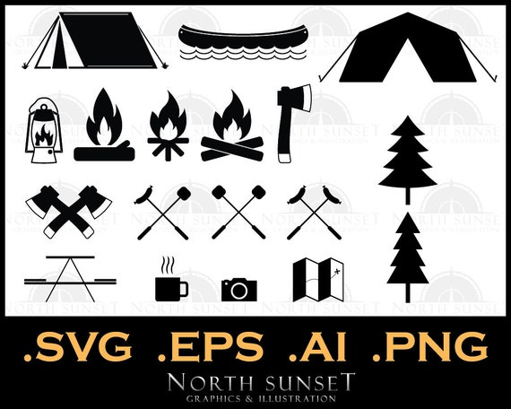 18 Camping Icons And Clipart Vector Eps Svg Nature Etsy