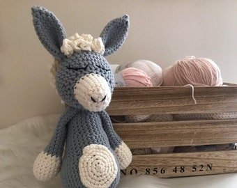 Neo the little donkey, mule, amigurumi, crochet, handmade, cotton, gift, gift, plush, Donkey