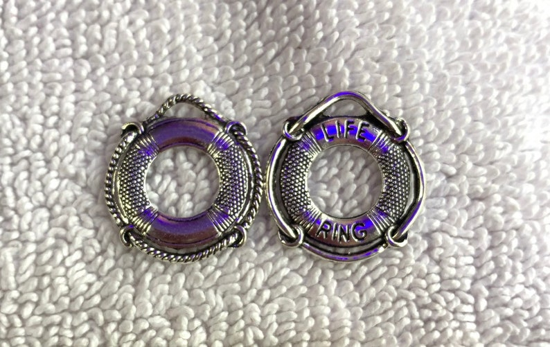 10 Life Ring Charms Antique Silver 23mm