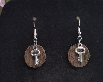 Key In Leather  Tree Bark- 100% Genuine Leather