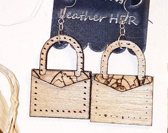 Wooden Handbag w/Original Flap Design- Handmade