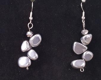 Pewter Rock Drop Earrings w- Handmade beading