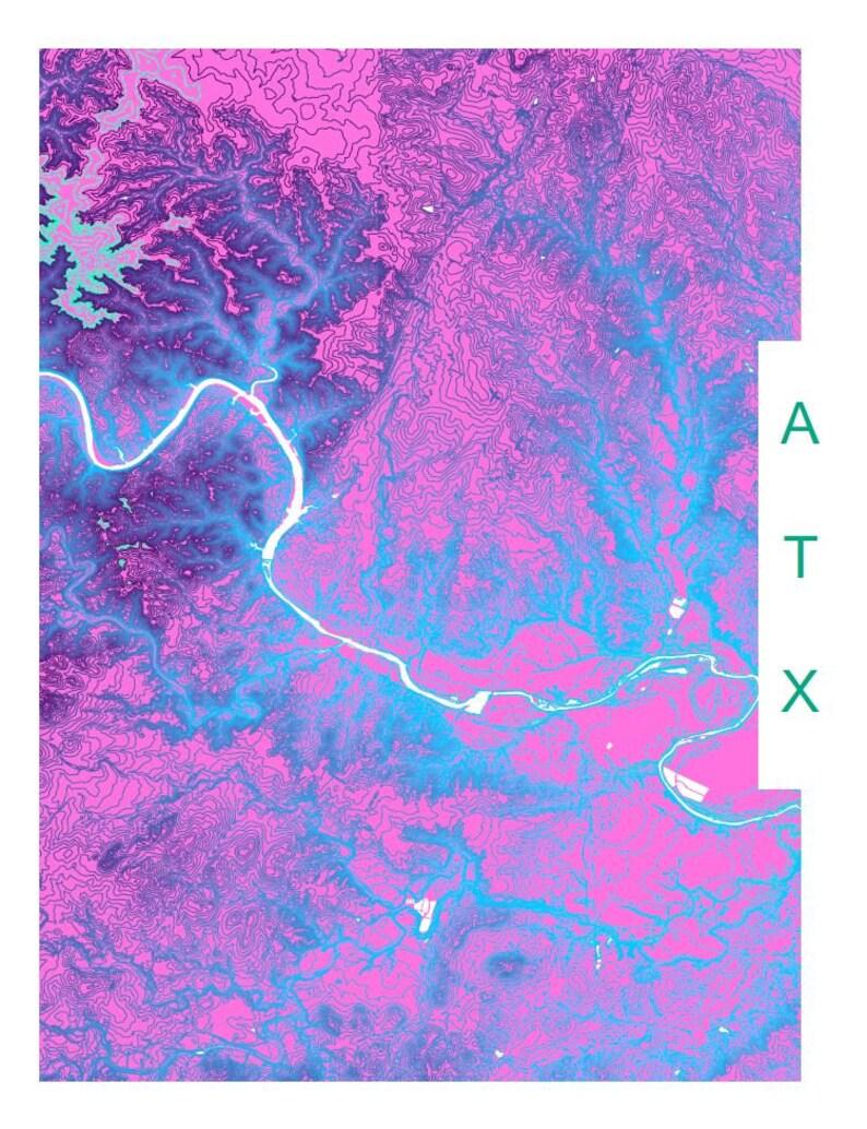 Modern Map Art Of Austin Texas Elevation In Vaporwave Color Etsy