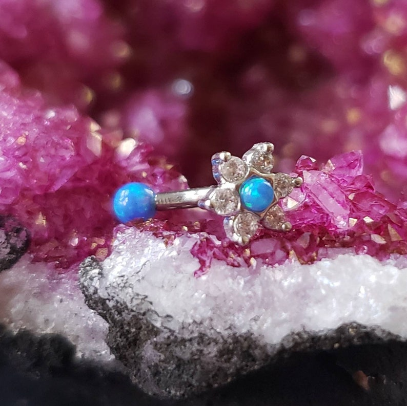 316L Stainless Steel Curved Barbell Vertical Labret Eyebrow Rook Ring Internally Threaded Opal Rook Earring Flower Blue Opal Barbell