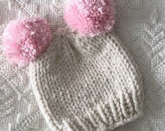 Double Pom Knit baby hat