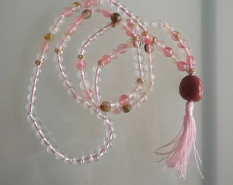 Mala in Hyaline quartz, Rose quartz, red jasper. Diameter 6 mm