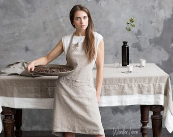 Linen apron. Natural linen full apron with pockets. Soft linen kitchen apron fow women and man. Custom color