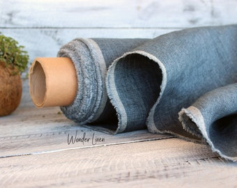 Blue linen fabric by half yard or meter / denim look washed flax / softened linen for sewing / stonewashed medium weight / soft summer linen