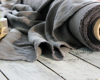 Gray linen fabric by half yard or meter / soft washed flax / softened pure linen / stonewashed organic 100% linen for dress medium weight