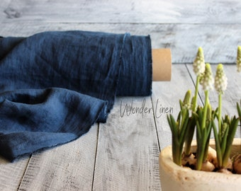 Blue linen fabric / navy washed flax by half meter or yard / indigo softened medium weight linen / stonewashed soft summer linen for dress