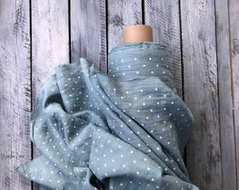 Mint white dots linen fabric by half yard or meter / natural washed flax / softened linen for sewing / stonewashed medium weight / soft
