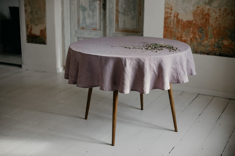Round Linen tablecloth. Washed soft linen table cloth. Dusty dusty lilac