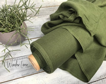 Forest green fabric by half yard or meter / dark green soft washed flax / softened pure linen / stonewashed organic for dress